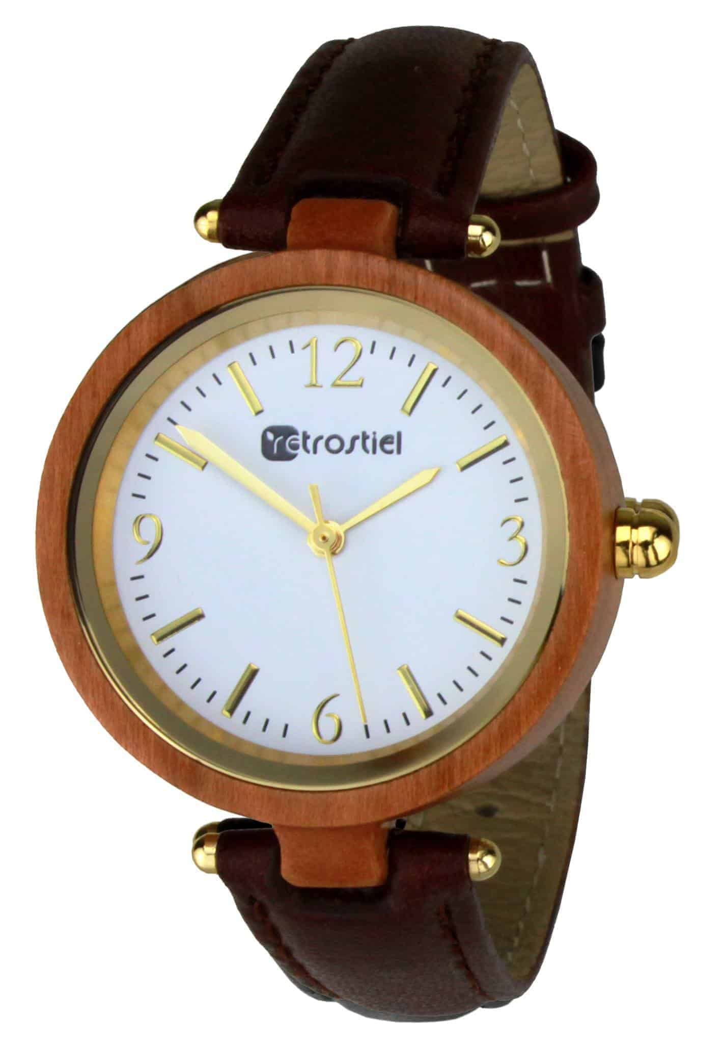 Wooden Watch - Venezia Cherry-Leather