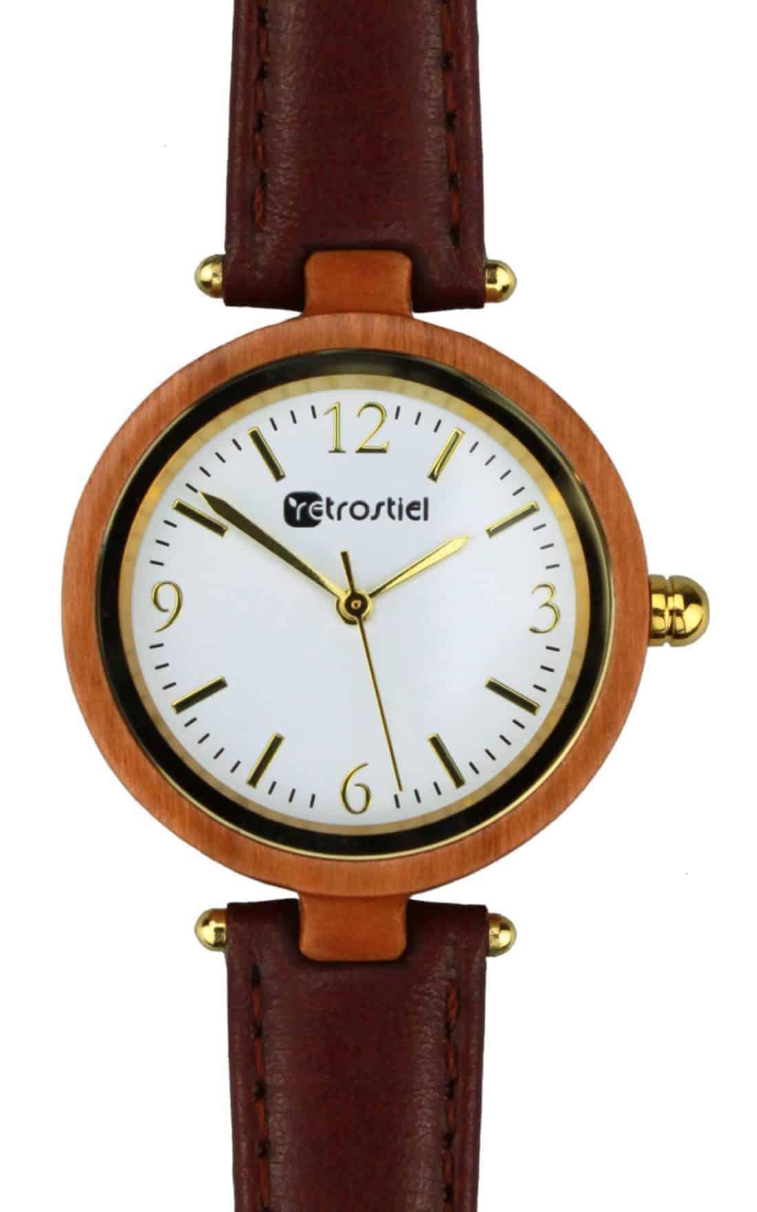 Wooden Watch - Venezia Cherry-Leather