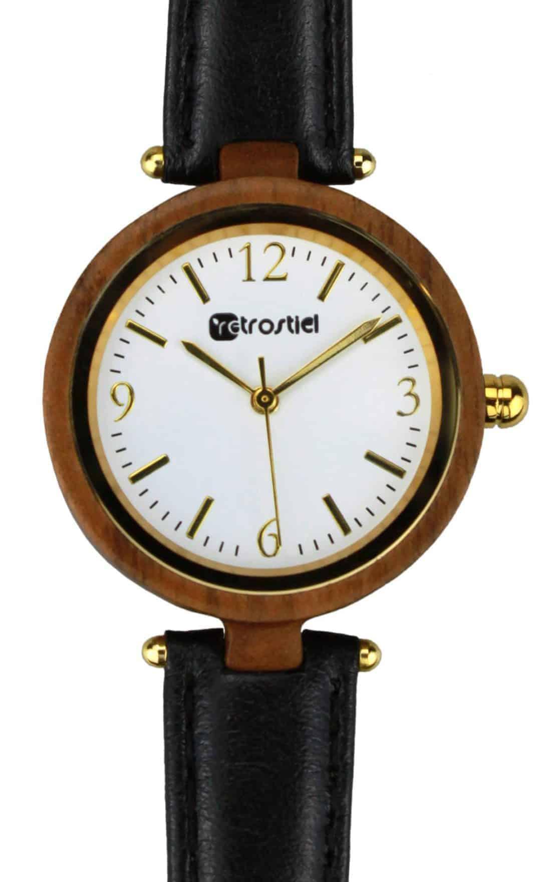 Armbanduhr aus Holz - Venezia Nut-Leather