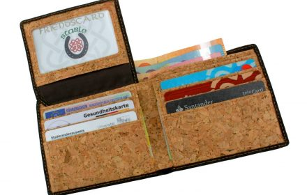 Cork Wallet Black & White flap with content