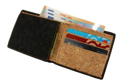 Cork Wallet Black & White with content